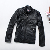 Free shipping 2013 brief Men stand collar casual genuine leather sheepskin leather clothing outerwear