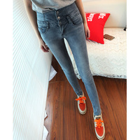Autumn new arrival 2013 mid waist jeans female skinny pants smoky grey trousers pencil pants