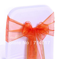 Hot selling 100 Pieces Of Free Shipping Wedding Banquet Peach Organza Chair Cover Sashes