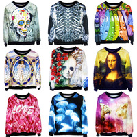 New Fashion 2013 Women/Men Space skull/candy print pullovers tiger Galaxy Sweatshirts virgin 3d sweaters hoodies Top S/M/L/XL