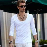 Male sexy big o-neck low collar o-neck long-sleeve T-shirt white basic shirt solid color cotton autumn 100%