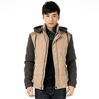 Free shipping 2013 new men's Slim Short padded, special offer free shipping winter wool liner jacket detachable cap collar