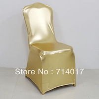Hot Sale Free Shipping Shiny Chair Cover Four Side Stretch metallic Gold Chair cover Shiny lycra chair cover