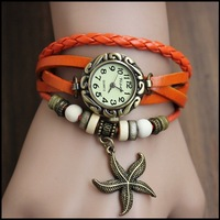 2013 fashion women Knitted bracelet watch vintage cowhide table decoration genuine leather pendant watches