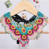 2014 Luxury Bohemia Ethnic Beads False Collar Necklaces Chocker For Women Party Dress Fashion Fall Winter Jewellry