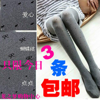 The spring and autumn period and the love knot velvet jacquard show thin render stockings female socks lovely leggings