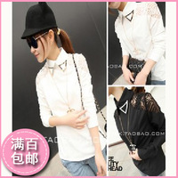 013 autumn women's royal vintage stand collar lace princess long-sleeve chiffon shirt female basic shirt female