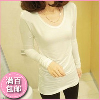 2013 autumn medium-long plus size clothing solid color t-shirt Women short-sleeve slim long-sleeve basic t shirt