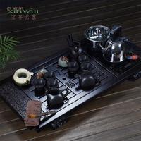 Zangwill tea service set tea set yixing kung fu tea electromagnetic furnace solid wood tea tray