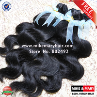 Free Shipping Mike & Mary Malaysian Body Wave 4pcs/Lot Unprocessed  Human Virgin Hair Natural Color 1b
