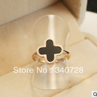 2013 Rose Gold Planted Classic Design Black Shell Four Leaf Clover Wedding Ring For Women, titanium Steel Jewelry