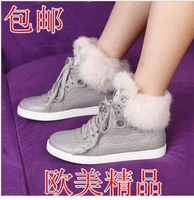 Fashion 2014 rabbit fur flat heel female boots lacing shoes high-top shoes genuine leather snow boots