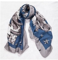 F016  women's fashion printed silk scarf shawl wholesale free shipping!