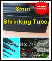 5M/lot, 8mm Black shrink tube for 5050 led flexible strip, 8mm Heat Shrinkable Tubing for led strip DIY, 5 meters free shipping