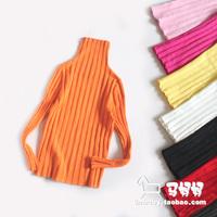 Child basic turtleneck shirt elastic tight-fitting t-shirt male female child child basic sweater thick black and white