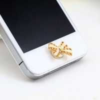 Min.Order $12(can mix) Enamel Bowknot Bow Home Return Keys Buttons Sticker for Iphone 4s Iphone 5 Ipod Touch iPad