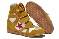 drop shipping!2013 new fashion Isabel Marant Wedges boots genuine leather casual Sneakers sport shoes yellow