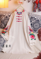 National trend women's spring female chinese style stand collar lantern sleeve embroidery flower linen long-sleeve top