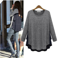 Classic Irregular Loose Special Design Baggy O-neck Long Sleeve  Plus size Tops & Tees T-shirts,Popular 2014 New Arrival Tshirt