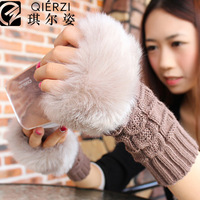 Faux winter female long design thermal semi-finger cute fur yarn gloves
