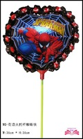 free shipping 14inch  laced spiderman foil balloon within stick aluminium foil balloon size 36x36cm