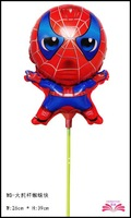 Free shipping 14inch spiderman foil balloon within stick chidlren toy balloon wholesale balloon
