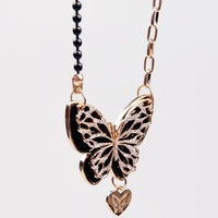 New arrival fashion cutout inlaying double layer pendant necklace female long necklace design