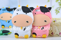 Lovely 3D Cartoon Dairy cow Silicone Back Cover Case For Apple iPhone 4 4S Free Shipping