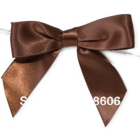 Free Shipping 600pcs/lot   Chocolate Brown  Satin Bows with Twist Ties for Chocolates Sweets Favors Bags