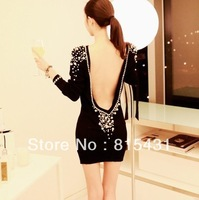 2013 new arrival saia vestidos formales Inlaying sexy elegant ladies slim hip large racerback pearl one-piece vintage dress