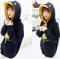 Juniors clothing spring and autumn and winter ear sweatshirt casual cartoon medium-long plus size outerwear