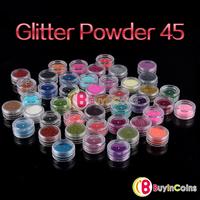 45 Color Make Up Decor Glitter Sparkle Dust Powder Nail Art Body Pigment Set[11487|01|01]