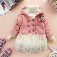 2013 girls clothing baby autumn and winter cotton-padded jacket wadded jacket double breasted berber fleece flowers tulle dress