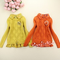 2013 children's autumn clothing autumn female child shirt collar sweater child sweater