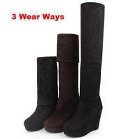 Sexy Women Knee High Elastic Flannel High-leg Boots Wedges Platform High Heel Boots Warm Winter Long Boots Footwear Botas KFS010