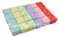 Jewelry Gift Box Mix Color Gift Paper Stripe Jewelry Boxes Ring Boxes,Cube with ribbon assorted colour 100pcs JW037