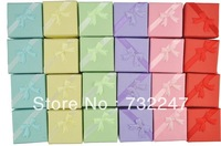 Jewelry Gift Box Mix Color Gift Paper Stripe Jewelry Boxes Ring Boxes,Cube with ribbon assorted colour 200pcs JW036
