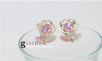 E0017 Min order $10 (mix order) New Arrival fashion 18K Gold rhinestones Rose cat eye stud Earring for women jewelry Wholesale