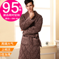 Male cotton-padded coral fleece robe winter thickening male noble super plus size plus size bathrobe