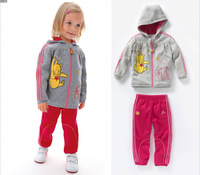 Autumn sportive girls suit/2-piece set: long-sleeved hooded+ long pants/100% cotton baby clothes