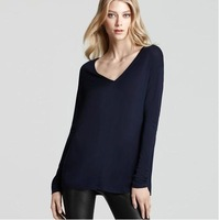 Free Shipping Fashion New Arrival Autumn Winter 2014 V-neck Loose Long-sleeve T-shirt Basic Shirts Female Tops Clothing