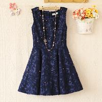 E4330-2013 women's elegant gentlewomen o-neck beading crochet tank dress one-piece dress 0923