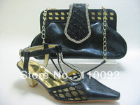 top quality  ladies shoes and  matching bags  ,african pattern shoes and bags black --1162D