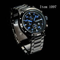 20pcs DHL Free Shipping  6 Styles Fashion  Brand Men full  Stainless Steel  Quartz  Sports  Wrist Watch