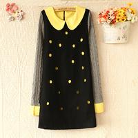 E4383-2013 women's polka dot cutout color block peter pan collar long-sleeve dress 0926