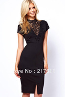 Free Shipping Dear Love New Arrive Elegant Midi Dress Women Short Sleeve Lady Embroidery Lace Trim Slim Pencil Party Gown LC6199