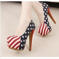 Free shipping, new hot sale fashion sapatos shoes for women, high quality American flag red bottom high heels pumps.