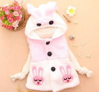 Retail 1 pcs free shipping 2013 Fashion Long ears rabbit mixed colors hooded vest girl vest Children vest