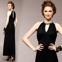 Fashion halter-neck long one-piece dress summer design sexy cutout slim formal dress dinner full dress sleeveless