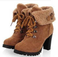 2013 winter New hot sale Fashion Women Ankle Boots High Heels Lace up Snow Boots Platform Pumps shoe